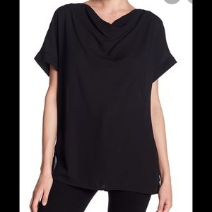 Pleione Black Drape Neck Sheer Inset Blouse